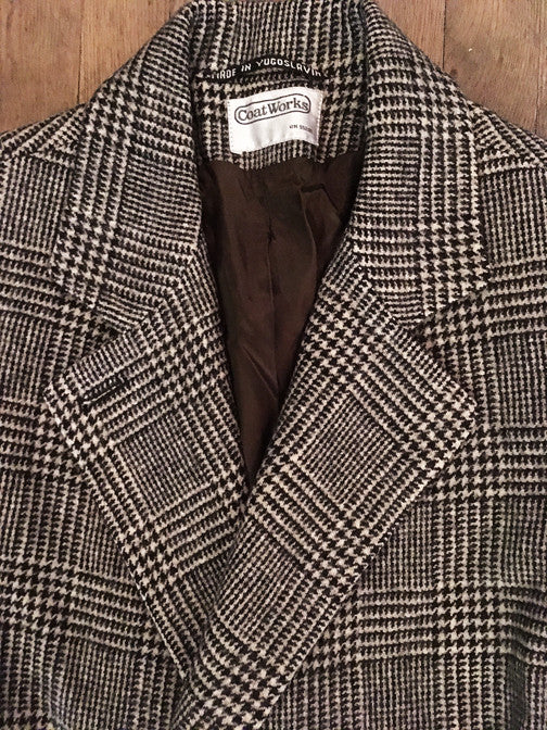Vintage Houndstooth Wool Coat