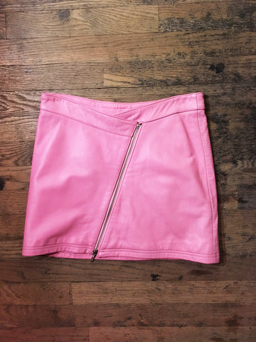 Vintage Pink Leather Skirt