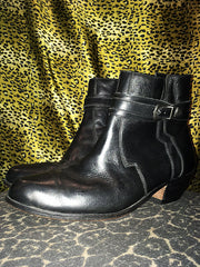 Vintage Ankle Buckle Zip Boots (Size 12)