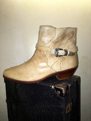 Vintage White Ankle Buckle Zip Boots (Size 12)