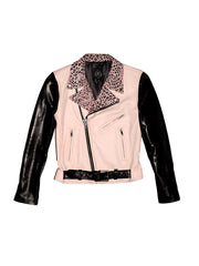 Women's Bowery Motorcycle Jacket (Pink + Leopard + Black Lambskin) *MADE-TO-ORDER*