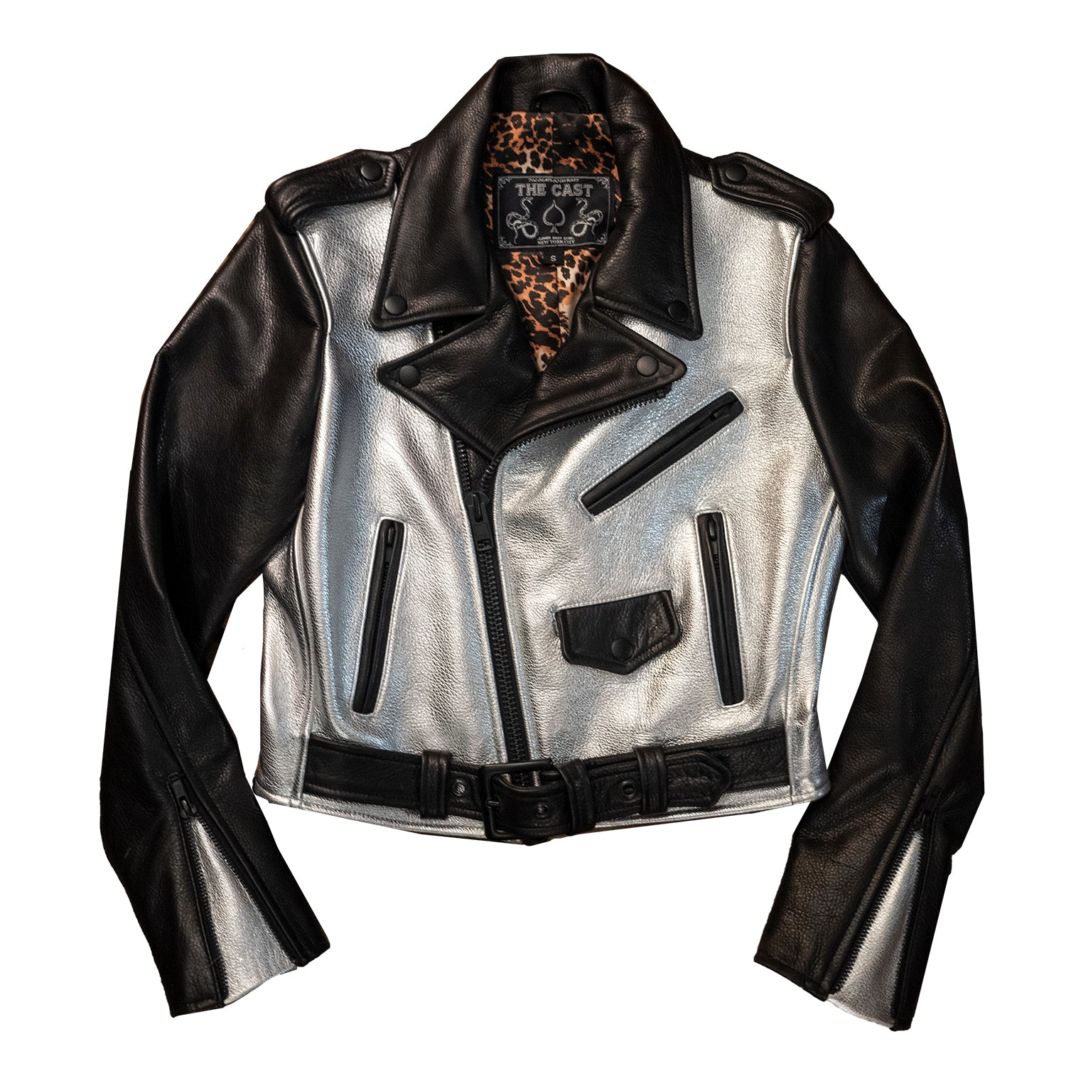 CROPPED BOWERY JACKET - Black & Silver