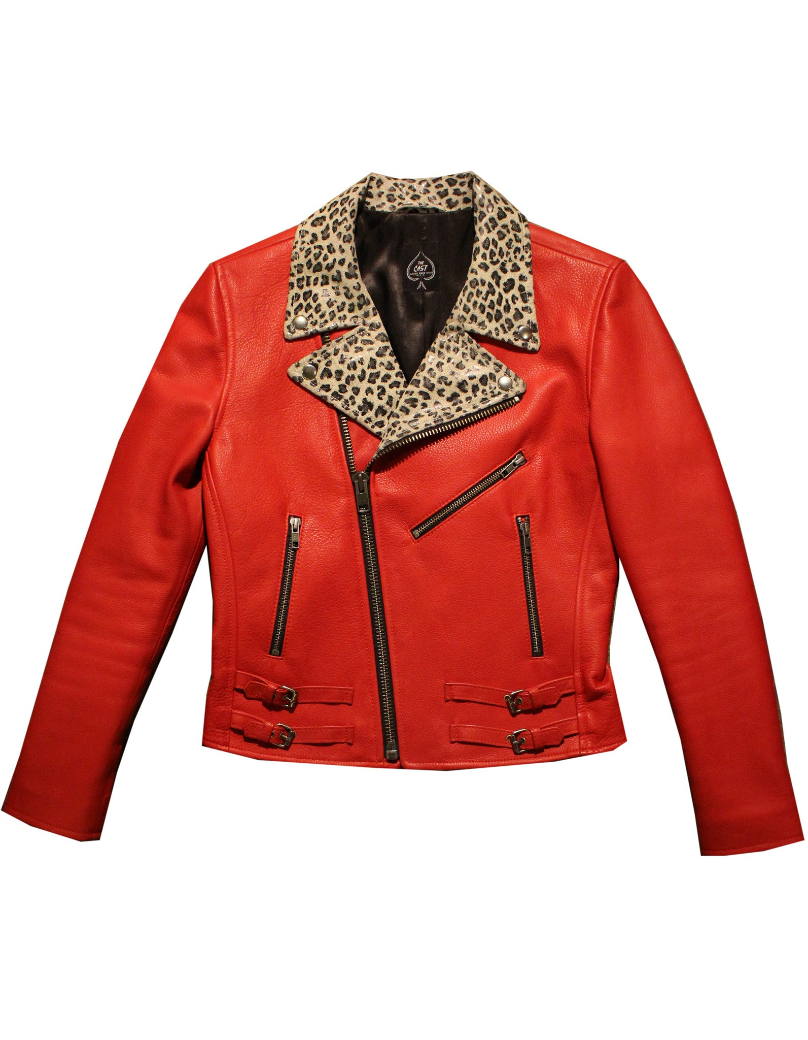 Essex Jacket (Red Cowhide w/Leopard Lapels) *MADE-TO-ORDER*