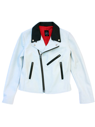 Women's Rivington Motorcycle Jacket (White + Black Cowhide) *MADE-TO-ORDER*