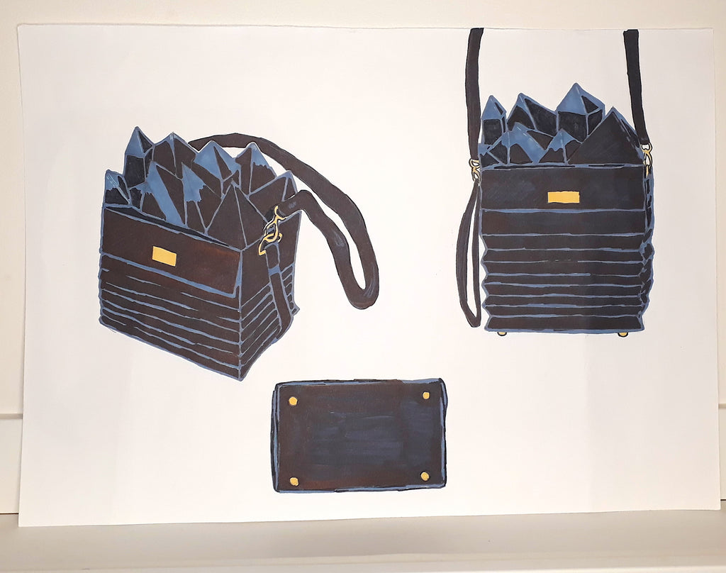 Concept Design of accordion bag with abstract decoration- illustrated by The Elisarium