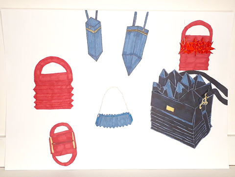 Design concept of accordion bags and clutches- illustrated by The Elisarium