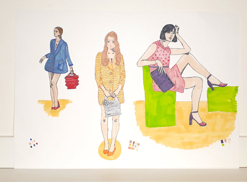 Concept Design of accordion bags and pochette- illustrated by The Elisarium