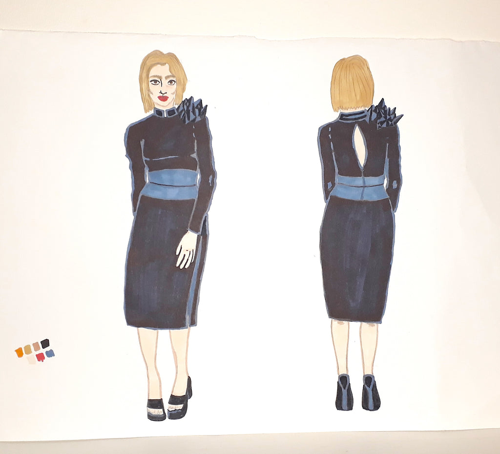 Further Concept Design of an edgy formal dress - illustrated by The Elisarium