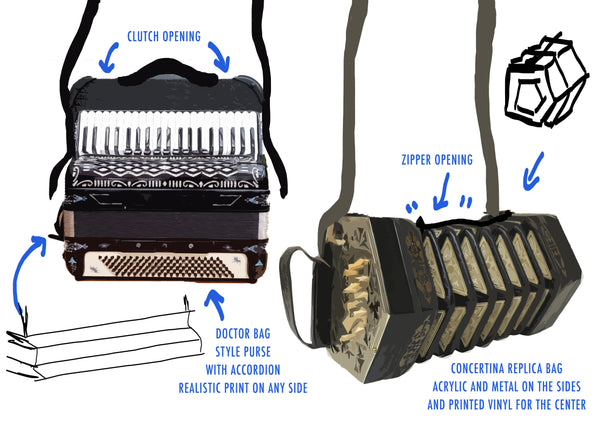 Concept design of Bags with accordion and concertina looks, by the elisarium