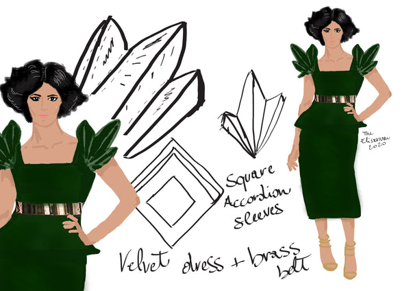 Concept design of square accordion sleeves fashion illustration by the elisarium