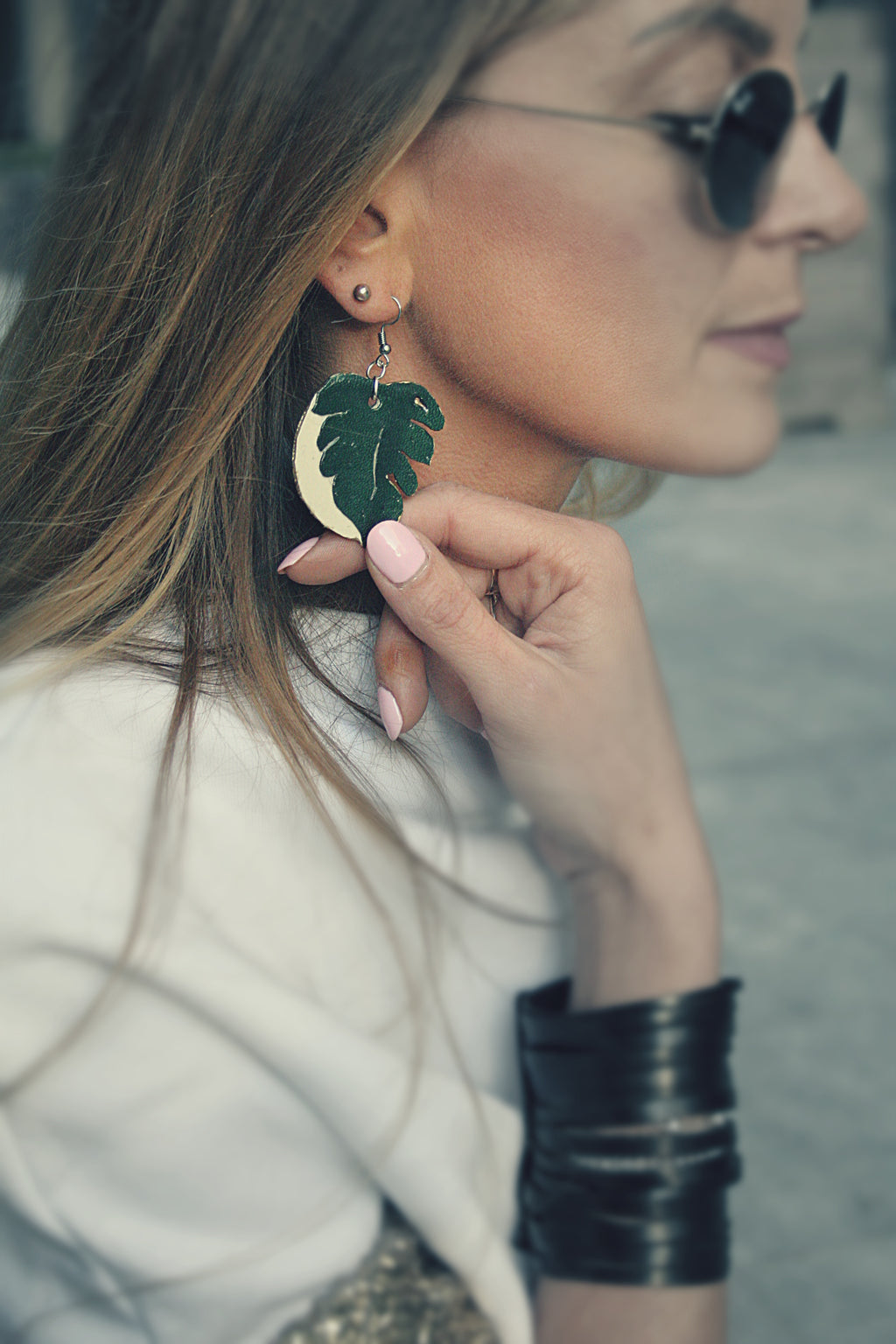 Monstera leaf, swiss plant earrings
