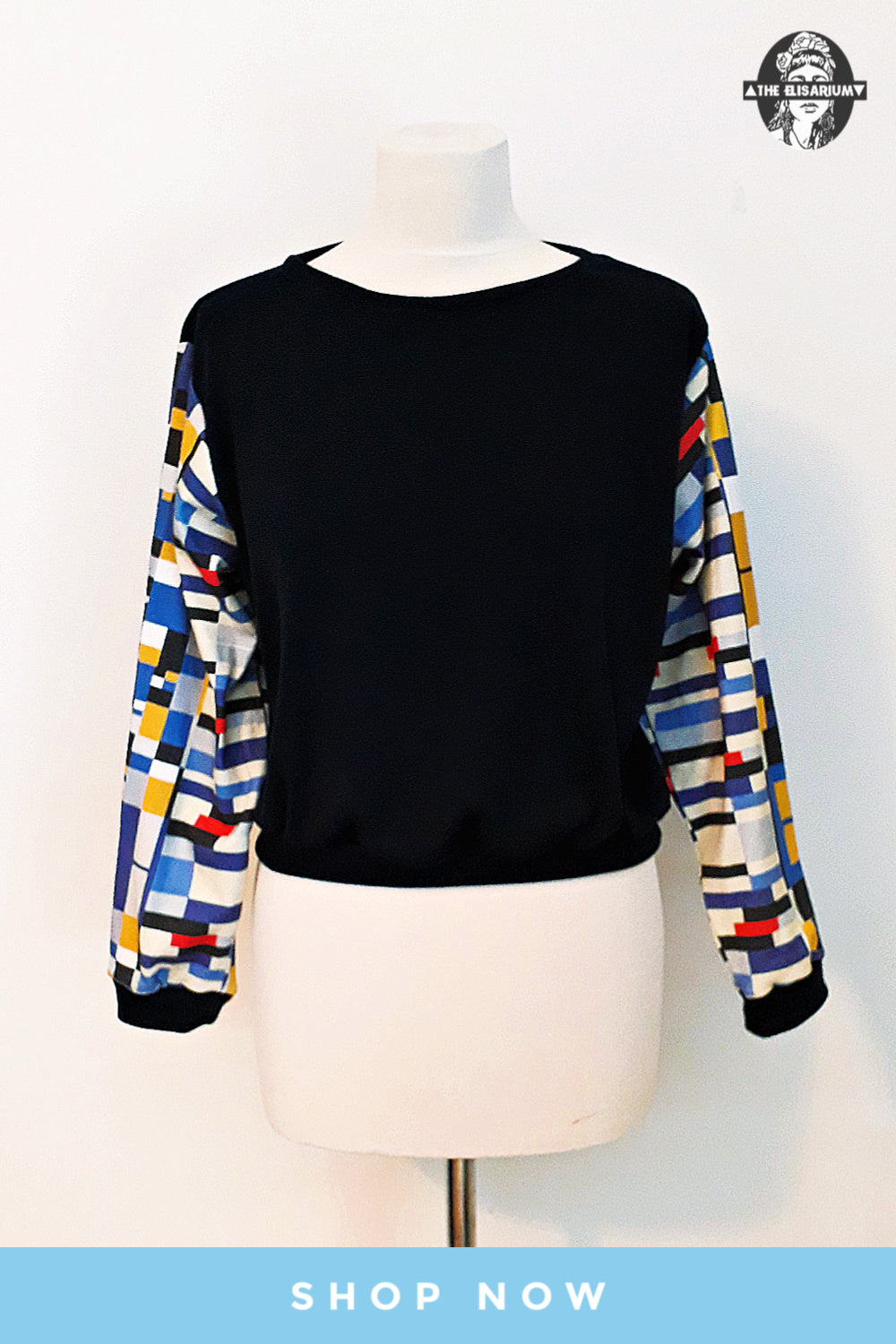 handmade sweatshirt jersey and organic cotton color abstract printlong sleeves