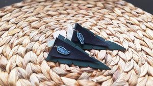 Blue feather Black & Green earrings