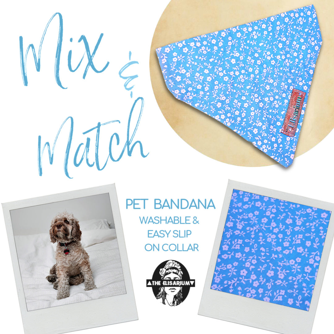 Dog Bandana - light blue Floral SMALL