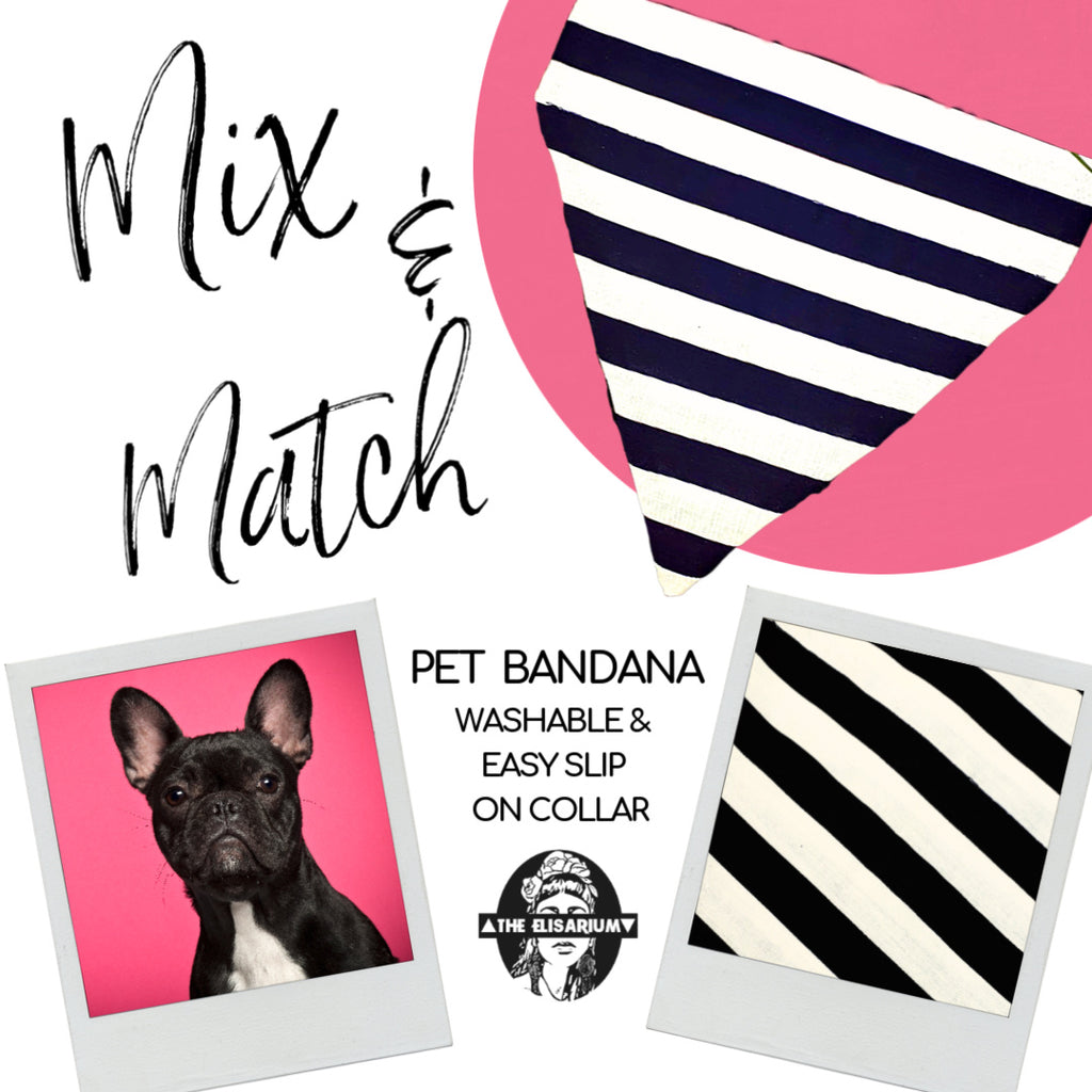 Dog Bandana - Black & White stripes