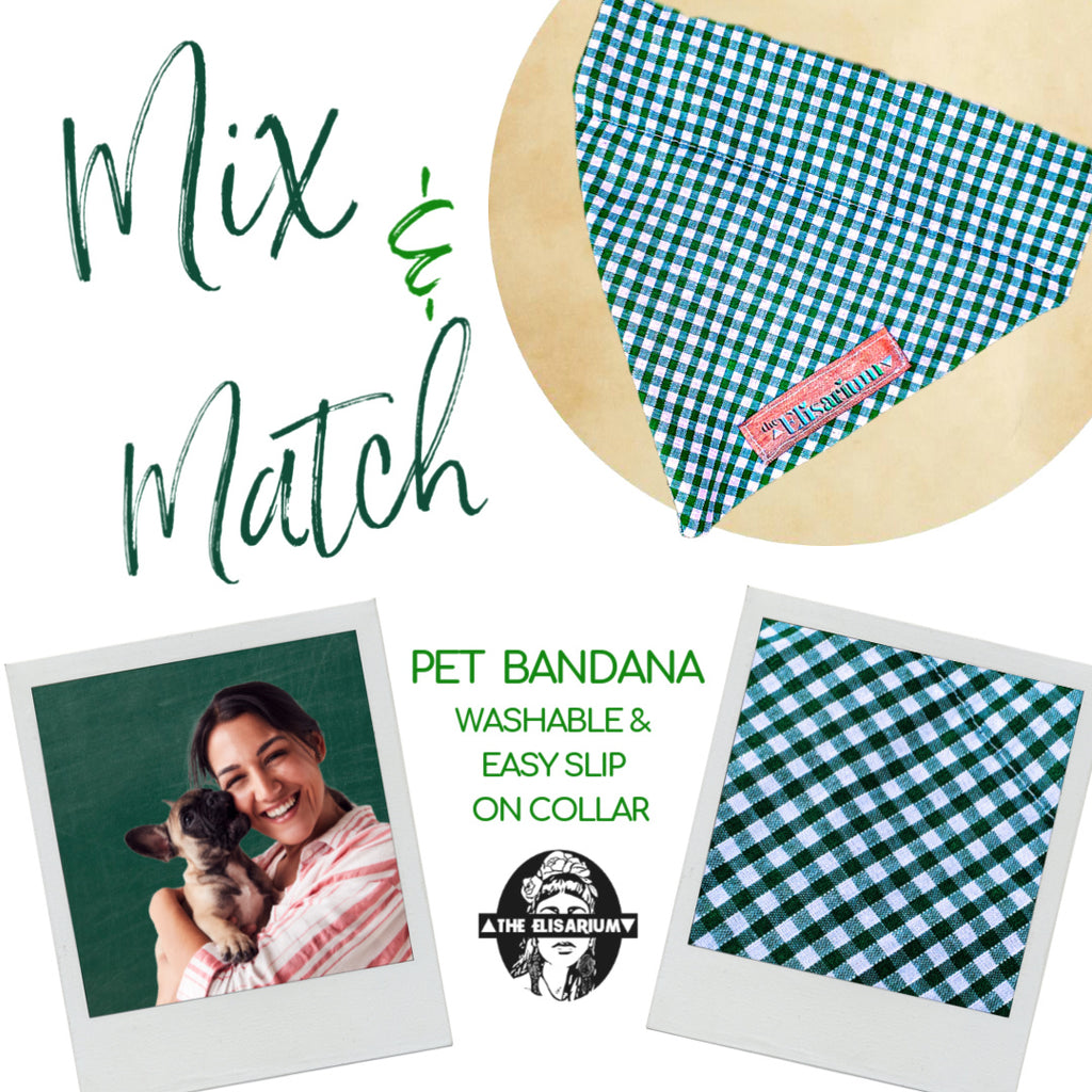 Dog Bandana - Green & White