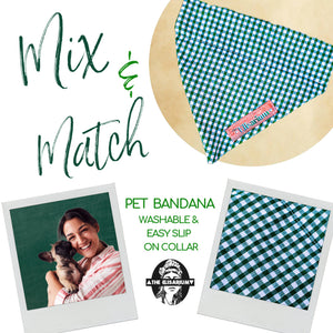 Dog Bandana - Green & White SMALL