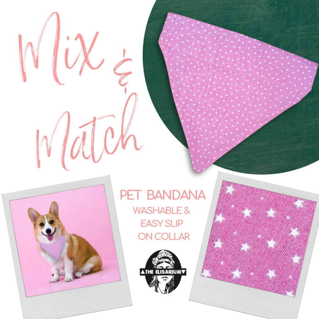 Dog Bandana - Pink with white stars