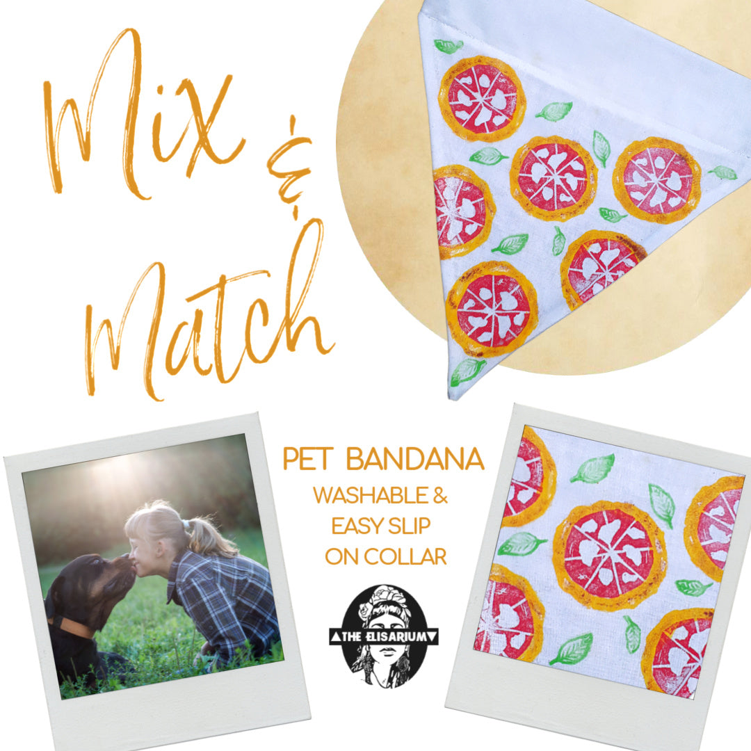 mix and match pet bandana washable handmade easy slip on collar pizza style