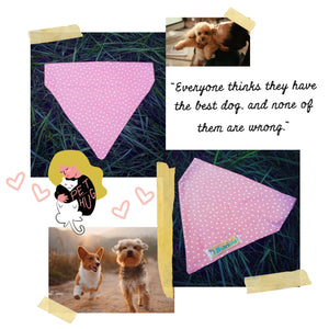 Dog Bandana - Pink with white stars SMALL & MEDIUM