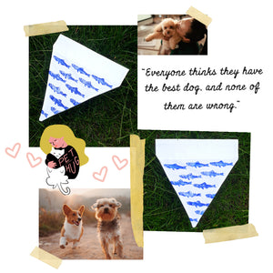 Dog Bandana Fish hand-printed pattern SMALL & LARGE