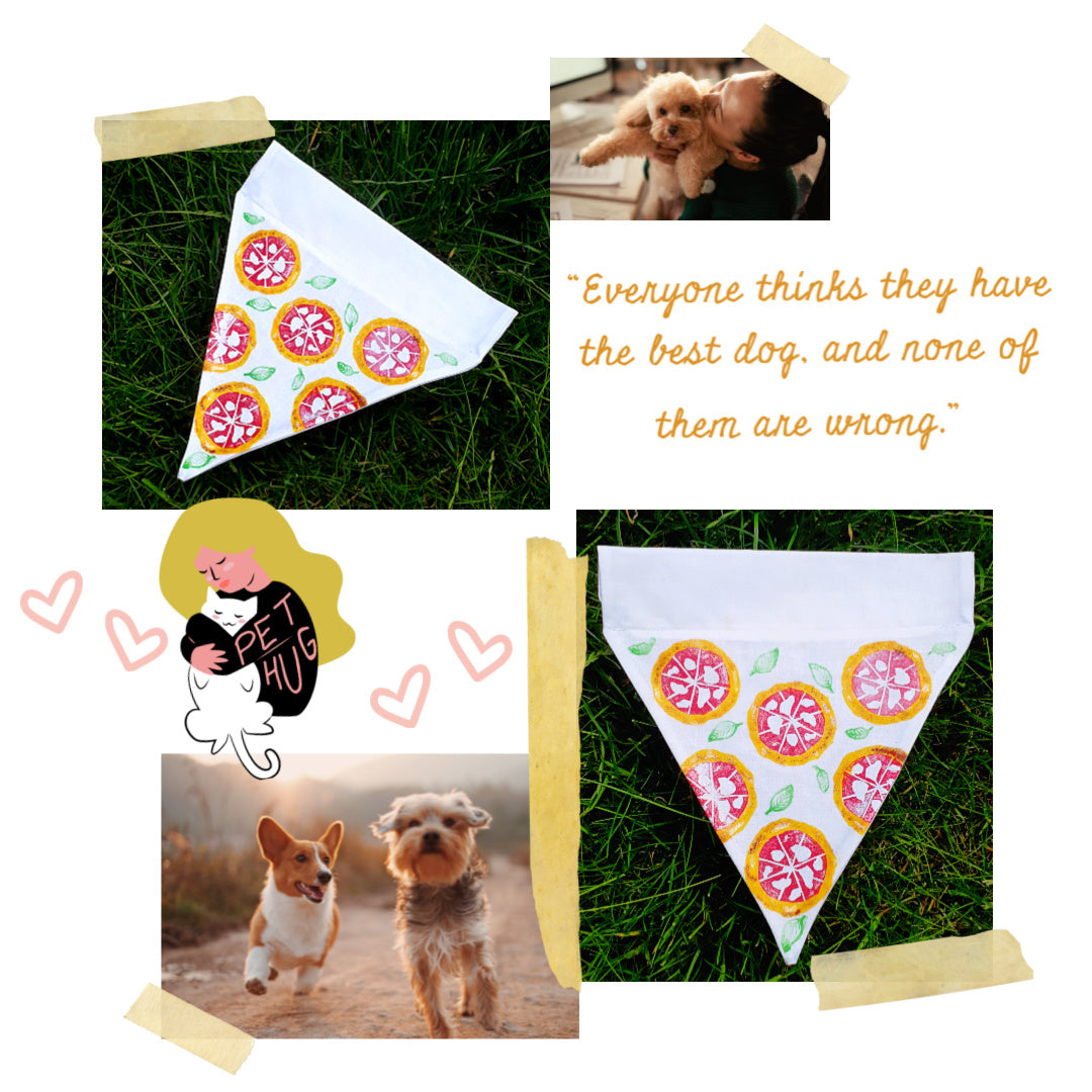 pizza dog bandana handmade with quote and details of dog outfit