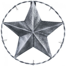 "Load image into Gallery viewer, 8"" Antiqued Decorative Metal Star w/ Barbwire Ring"