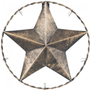 "8"" Antiqued Decorative Metal Star w/ Barbwire Ring"