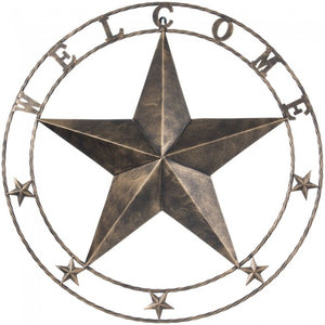 "24"" Antiqued Decorative Welcome Metal Star"