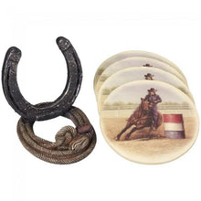 Load image into Gallery viewer, Western Coaster Set, Cowboy, Barrel Racer, or Horse Head