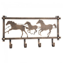 Load image into Gallery viewer, Horses and Barbwire Wall Rack in Hammered Finish
