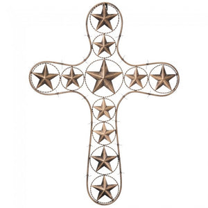 Cross With Stars And Barbwire Detail