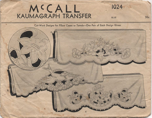 1942 McCall Kaumagraph Transfer to do Cut Work Designs on Pillowcases and Towels - No. 1024