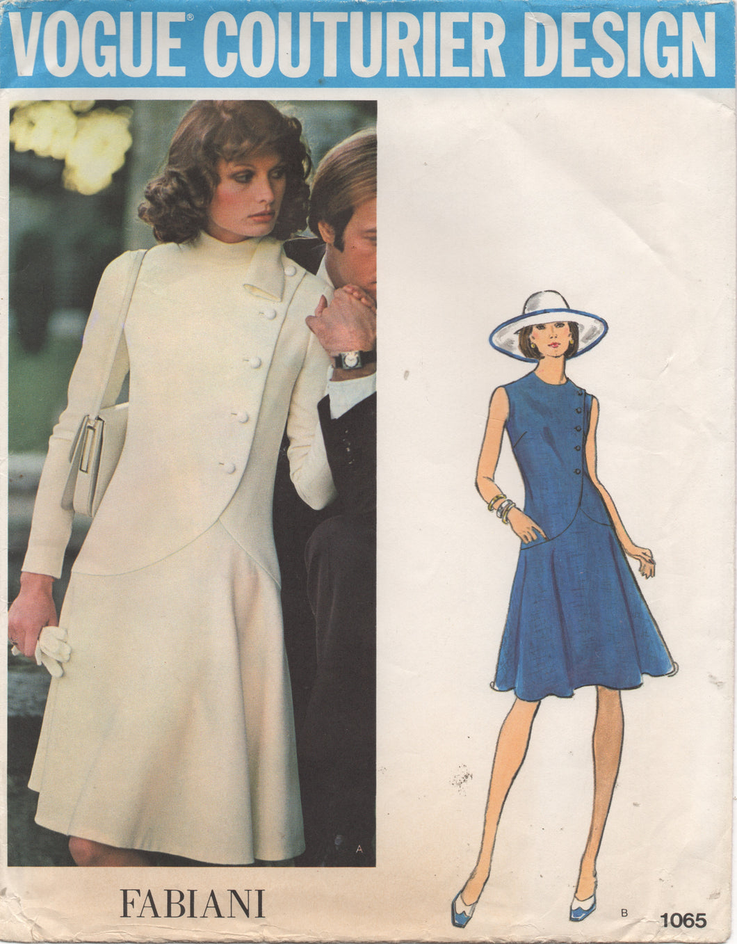 1970's Vogue Couturier Design - One Piece Dress with Cross over front and Button detail with Belt - Bust 32.5