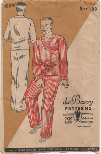 1930's DuBarry Men's Two Piece Pajamas with Pocket - Chest 38