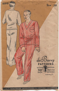 "1930's DuBarry Men's Two Piece Pajamas with Pocket - Chest 38"" - No. 1091"