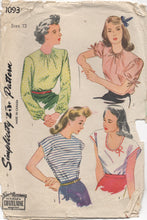 "1940's Simplicity Blouse with Scoop or High Neck and 3 Sleeve Options - Bust 30"" - No. 1093"