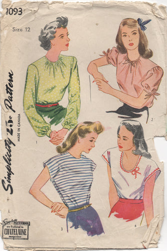 1940's Simplicity Blouse with Scoop or High Neck and 3 Sleeve Options - Bust 30