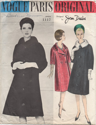 1960's Vogue Paris Original by Jean Desses - Single or Double Breasted Coat with Notched Neckline - Bust 32