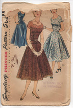 "1950's Simplicity One Piece Cocktail Dress with High Sweetheart Neckline - Bust 34"" - No. 1134"