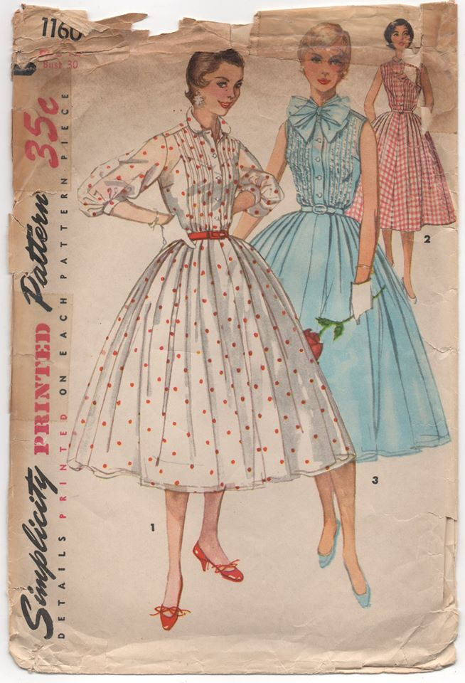 Copy of 1950's Simplicity One Piece Dress with Tucked Bodice and Pussy Bow - Bust 30