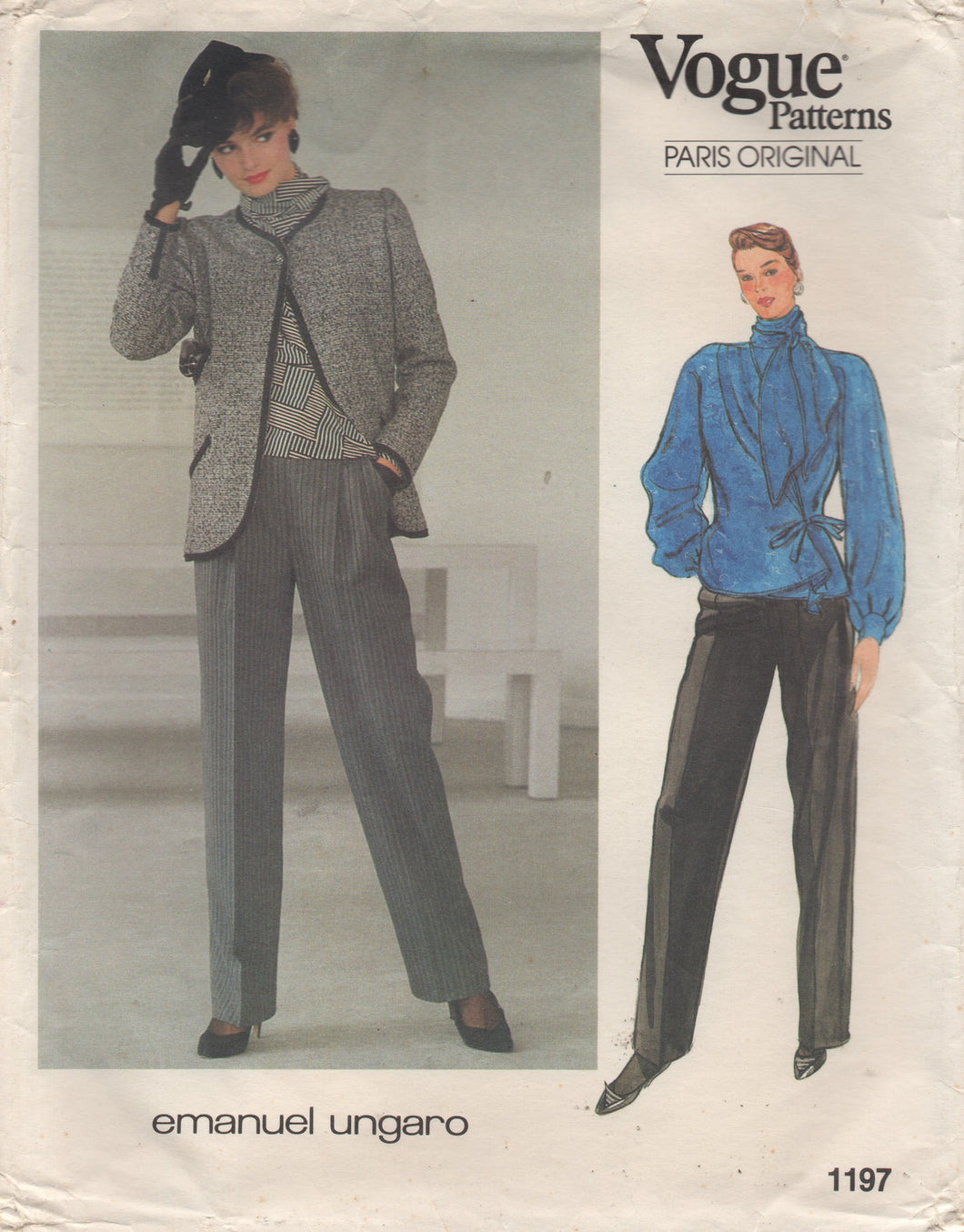 1980's Vogue Paris Original Wrap Blouse with Bow detail, Jacket and High Waisted Pants Pattern - Emanuel Ungaro - Bust 34
