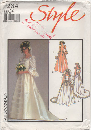 1980's Style Wedding Gown with Ruffle or Elbow length Sleeves and Train - Bust 34
