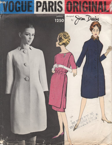1960's Vogue Paris Original by Jean Desses - One Piece Tunic Shift Dress and Coat with Notched Neckline - UC/FF - Bust 31