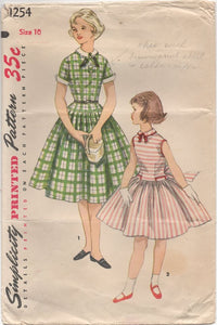 "1950's Simplicity Girl's One Piece Dress with Dropped Waist and Peter Pan Collar - Bust 28"" - # 1254"