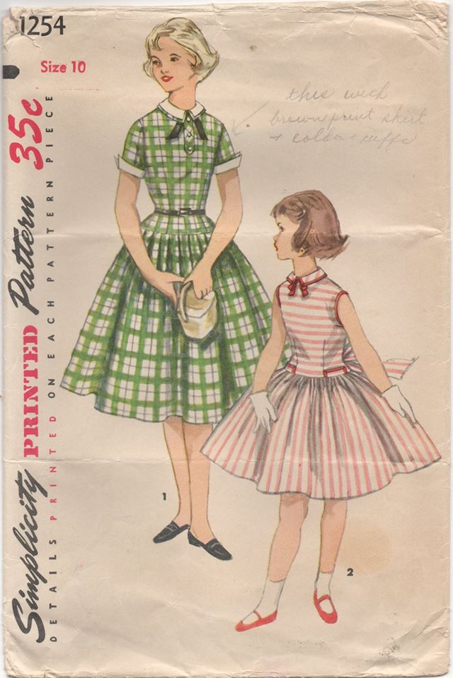 1950's Simplicity Girl's One Piece Dress with Dropped Waist and Peter Pan Collar - Bust 28