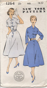 "1950's New York Large Button Detail Dress with Dolman Sleeves - Bust 32"" - No. 1264"