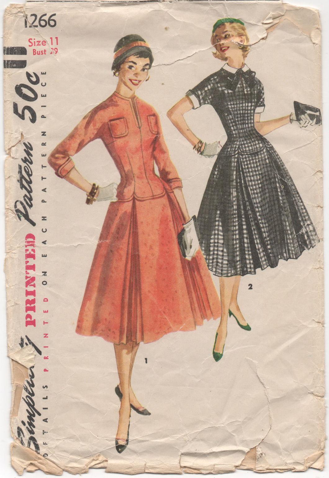 1950's Simplicity One-Piece Dress with Drop Waist and Full Skirt with Double Inverted Pleats - Bust 29