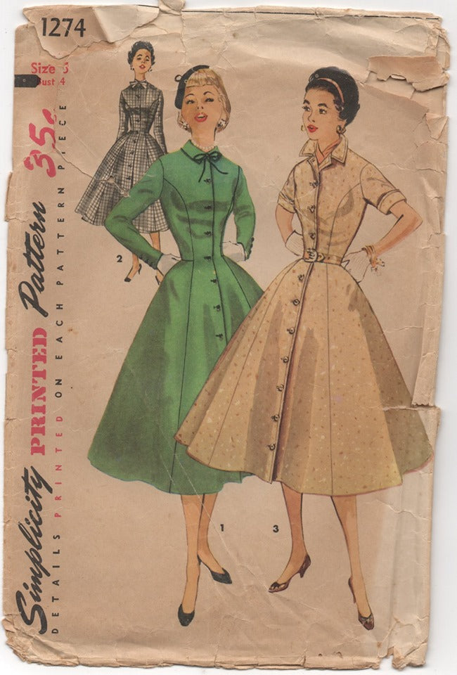 1950's Simplicity One Piece Dress with Tall Collar Pattern - Bust 34