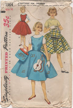 "1950's Simplicity Dress, Flared Skirt and Tote Bag - Chest 28"" - No. 1364"